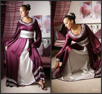 Cheap 2014 New Arrival Dubai Kaftan Abaya Purple And White Satin Jewel Crystal Evening Dresses