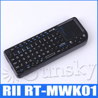 Wholesale RII RT MWK01 G Wireless Multi media Remote Control and Touchpad Function Handheld Air Mouse Keyboard