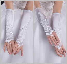 Wholesale Fashion White Satin Lace Appliqued Fingerless Below Elbow Length Wedding Bridal Gloves DL1309553
