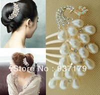 Wholesale fashion boble hair jewelry crystal and pearls inlay hair insert comb hairpins hairwear accessories