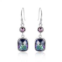 Dangle & Chandelier mystic topaz Bohemian 925 sterling silver earrings eardrop earbob women fashionable Jewelry E0547