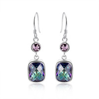 Wholesale 925 sterling silver Plated Fire Multi Colored Mystic Topaz Drop earrings eardrop earbob women fashionable Jewelry E0547