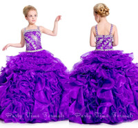 Purple Big Ball Gown Puffy Big Poofy Dresses For Kids