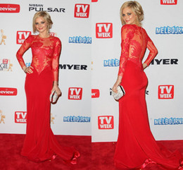 Wholesale 2014 Sexy Red Samara Weaving in Red Carpet Celebrity Dresses Sheath High Neck Lace Backless Evening Gowns Long Sleeve Prom Dress Pageant