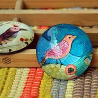 Wholesale Dia cm Hot Sale Color Bird Painting Glass Top Fridge Magnet Cute Message Sticker Premiums Gift FM059