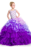Reference Images Girl Beads Hot Sale White And Purple Ball Gown Rainbow Asymmetrical Beads Sweep Train Organza Ruched Little Girl Formal National Level Pageant Dress
