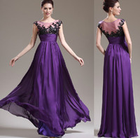 Model Pictures Off-the-Shoulder Chiffon Stock Prom Dress Boat Neckline Special Occasion Pageant Dresses A-line Purple Chiffon Empire Waist Wedding Party Prom Evening Dresses E1482