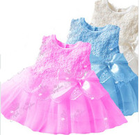 Wholesale 2014 Baby Girls Vest Lace Dresses Children Cotton Flowers Smocked Bowknot Sash Gauze Clothes High Quality B2505