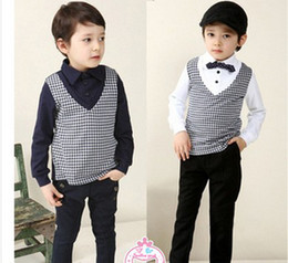 Wholesale children clothes spring boys Kids long sleeved T shirt fake two bottoming shirt dandys