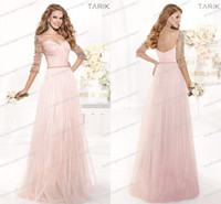 Cheap 2014 Long Pink Bridesmaid Dresses Sweetheart Ruched Bodice Sheer Illusion Half Sleeved Tulle Beaded Sequins Vintage Tarik Ediz Bridal Party