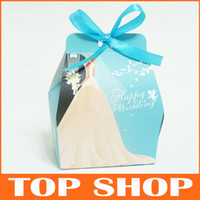 Wholesale Favor Holders Tiffany Blue Candy Boxes Paper S M Wedding Box HQ0011