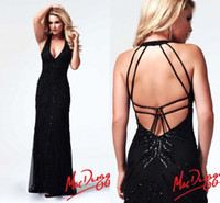 Wholesale 2014 Junoesque Sexy Sheath Halter Backless Beads Crystal Floor Length Pleat Black Tulle Prom Evening Dresses