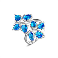 South American blue stone ring - 925 sterling silver jewelry blue topaz ring stone R0360