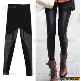 Wholesale 10xSexy Women Ladies Black Cotton Leather Look Pants Leggings