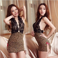 Ladies loving sexy lingerie leopard bud silk hanging backles...