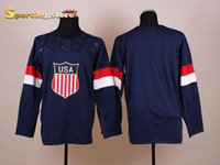 Cheap Blank American Olympic Hockey Jersey Mens Navy Blue Hockey Apparel Lowest Price Jerseys Top Quality Hockey Wears for 2014 New Season