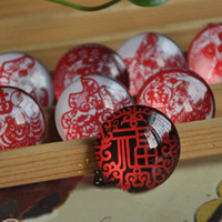 Wholesale Dia cm Red Paper Cut Painting Fridge Magnet Crystal Glass Magnetic Stickers Home Decoration FM060