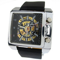 Wholesale Watch for Golden dial Fashion Watch men Skeleton mechanical hand wind watch mechanical vintage wristwatches