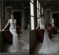Trumpet/Mermaid Reference Images Halter 2014 Berta Mermaid Unique Halter Neckline Sexy Backless Court Train Length Long Sheer Sleeve Charming Lace Applique Vintage Wedding Dress