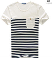 Cheap Free Shipping 2014 new Mens pure cotton cheap T shirts, fashion navy blue stripe, short seelves T361