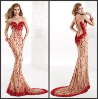 2014 rouge robes de soirée sexy sirène mousseline de soie pure sans manches perles strass Floral Backless Tribunal Train robes de Prom avec boutons 92368
