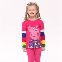 Wholesale F2179 Nova new arrival m y baby girls T shirts cartoon Peppa pig printing tops cute baby girl clothes cotton long sleeve autumn tees