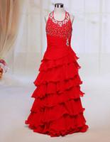 Wholesale Hot New Arrival Beaded Little Kids Halter Red Little Girl Pageant Dress Chiffon Tiered Flower Girl Dresses
