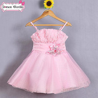 TuTu Summer Pleated Wholesale - 2014 girls lovely rose flower dresses children suspender one piece kids summer clothes about 3-8T gmy