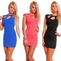 Wholesale 907 women new fashion colors o neck hollow out back zipper sexy lingerie clubwear bodycon dress party dresses drop ship