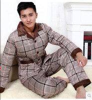 Wholesale three layer thickening man pajamas flannel bashan quilted male suit long sleeved household to take