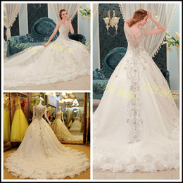Wholesale 2014 A Line V neck Cap sleeves cathedral train White Organza Lace Beads Sequins Luxury Crystal Rhinestone Wedding Dresses