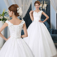 Wholesale Beautiful and Novel Network Appliques Beads V neck Off Shoulder Ball Gown Lace up Floor Length Wedding Dresses