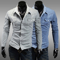 Men Cotton Shirts Free Shipping 2014 Mens Slim fit Unique neckline stylish Dress long Sleeve Shirts denim fabric shirts N12
