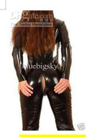 Wholesale catsuit metallic Lycra spandex zentai costume catsuit metallic black Sexy Women front zip S XXL