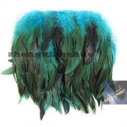 Free Shipping 10yards lot Turquoise rooster Coque feather trimming turquoise Rooster tail feather fringe for party supply