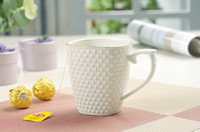 Wholesale 350ml Bone China Ice Flower Mug Cup in White color