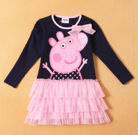 TuTu Spring / Autumn A-Line 2014 Spring and Autumn Baby Gilrs Long sleeve dress cut peppa pig Layered dress girl princess dresses 2-6Y baby clothing