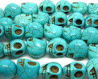 Wholesale 100pcs New Fashion Skull Turquoise Gemstone Loose Beads Fit Bracelet Necklace DIY Have in Stock