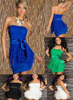 Wholesale Hot Sale New Blue Black green white Colors Fashion Classic Sexy lace Bud Dress Women Clothing Party Wear Lady Mini evening dresses