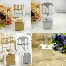 Wholesale Silver Chair Wedding Favor - Hot Sale 120pcs Gold Silver White Chair candy box for wedding favor DIY gift box party supplies Free shipping
