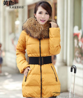 Wholesale new duck down jacket warm hoodies outerwear coats polyester long sleeve winter womens jacket parka coat fox fur collar