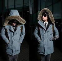 Down Coats fur hooded jackets - 2014 New Men s Casual Fashion winter warm Fur Hooded Jackets Coats cotton padded clothes