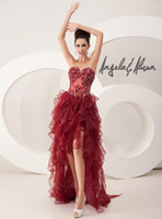 Wholesale Wine lace appliqué beaded sweet heart Prom Dresses hi low ruffled organza high low Angela and Alison
