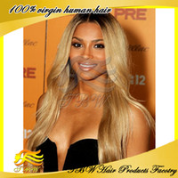 Wholesale Human Hair Middle part Two Tone b Blonde Wavy Ombre Front Lace Wig Density Instock