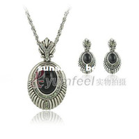 Wholesale Ancient Silver Alloy Jewelry Set oval gemstone jewelry mixed batch Banquet Set