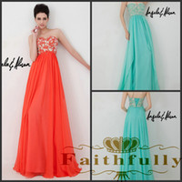 Cheap 2014 Prom Dresses Coral Aqua strapless evening dresses sweetheart beaded lace corset chiffon Angela and Alison Spring 41037