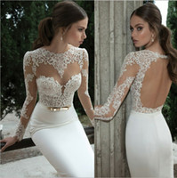 Wholesale Berta Bridal Winter Long Sleeve Backless Wedding Dresses Illusion Bateau Applique Sweep Train Mermaid Wedding Dress Sheer Bridal Gowns