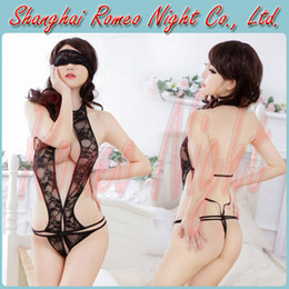 Wholesale Fantasy Lace Bra Bondage Body Suit with Eyeshade Women Sexy Babydolls Lingerie Costumes