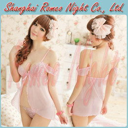 Wholesale Dreamlike Lace Light Pink Elegant Enticing Slip Dress G String Women Sexy Babydolls Lingerie Costumes