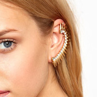 Wholesale Gold Diamond Ear Cuff Earrings For Women Spike Rivet Ear Clips Rhinestones Stud Earrings